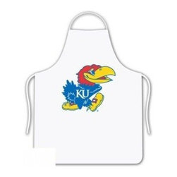 Sports Coverage - Kansas University Jayhawks Tailgate Apron - Collegiate Kansas University Jayhawks White screen printed logo apron. Apron is 100% cotton twill with screenprinted logo. One Size fits all.