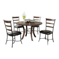 "Hillsdale Furniture - Hillsdale Cameron 5-Piece Wood Base Dining Set with Ladder Back Chairs - Hillsdale's Cameron collection beautifully combines a warm chestnut brown wood finish with a dark grey metal and offers a multitude of choices to create the perfect dining group for your home. Starting with the chairs, you have the choice of three lovely designs: The X-Back chair combines a warm chestnut brown top accent with a transitional metal X in the center of the back and a brown faux leather seat. The parson's chair is traditional in design and combines the warm chestnut brown finish with the brown faux leather seat. The ladder back chair features 3 rungs in the chestnut brown finish, enhanced by the dark grey metal and brown faux leather seat. Now that you have decided on your chair, let's look at the table options: The stunning rectangle table features a wood top that is generously scaled to easily accommodate 6. The simple round table features a 48"" diameter wood top with flared metal legs. The round wood table is 48"" in diameter and features a wonderful metal accent on the base."
