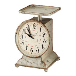 Rejuvenation: Kitchen - This grocery scale clock's time-worn, nostalgic feel will add a bit of  charm to a kitchen counter or shelf.