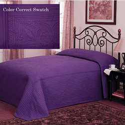 Pem America - French Tile Plum Purple King Bedspread - - French tile in plum purple is a classic solid color detailed machine stitch bedspread pattern. This classic coordinate can be used in any room of the house. This quilt is a microfiber face material with a cotton filling  - Made with 95% Cotton and 5% Other Fibers  - Cleaning Care: Machine Wash Cold/Gentle Do Not Bleach Tumble Dry Low. Pem America - BQ7168PLKG-4434