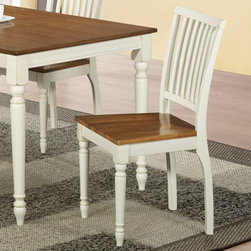 Monarch - Antique White/Oak 36in.H Dining Chair - Set of 2 - Blend upscale design and rustic charm with this antique white and oak look side chair featuring turnpost legs and a lattice bent seat back.