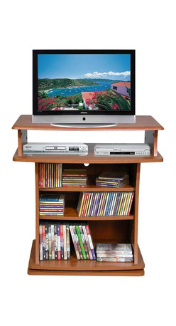 Venture Horizon - Swivel Entertainment Stand w Adjustable Shelv - Finish: CherrySwivel base enhances viewing. Holds up to 27 in. TV. Great for X-box, playstation and Wii. Roomy shelves hold cd's and DVD's. Sturdy. Constructed from durable, stain resistant and laminated wood composites that includes MDF. Made in the USA. Pictured in Cherry finish. Minimal assembly required. Media storage capacity:. CD's : up to 135. DVD's : up to 60. Blu-ray's: up to 80. VHS tapes: up to 34. Disney tapes: NA. Audio cassettes: 130+. Weight: 59 lbs.. Shelf depth: 6 in.. Assembled size: 29 in. W x 20 in. D x 29.5 in. HThis television cabinet revolves a full 360° and places your TV at a comfortable viewing height. It blends easily with even the finest furniture. Lower shelves are adjustable and can accommodate a VCR or DVD player, videos and CDs.