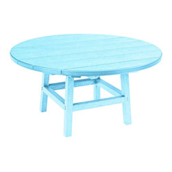 """C.R. Plastic Products - C.R. Plastics 37"""" Round Table In Aqua - Can be used for residential or commercial use, Ergonomically designed, Heavy 78 gauge plastic lumber 12 used by competitors, All stainless steel hardware, No painting, No slivers, No Rot, Completely waterproof"""