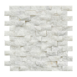 STONE TILE US - Stonetileus 10 pieces (10 Sq.ft) of - Mosaic Tile 1x2 White OnyxFree shipping.. Set of 10 pieces, Covers 10 sq.ft.