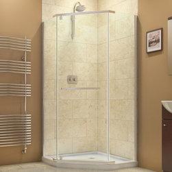 "DreamLine - DreamLine SHEN-2136360-01 Prism Shower Enclosure - DreamLine Prism 36 1/8"" by 36 1/8"" Frameless Pivot Shower Enclosure, Clear 3/8"" Glass Shower, Chrome Finish"