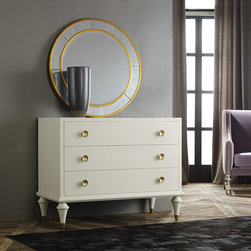 """Modern History - Modern History Home Retro Commode Ivory - Retro style meets contemporary sophistication on this Modern History ivory finished commode. With striking gold brass details, this rectangular furnishing showcases four glide drawers and alluring tapered legs. 46.5""""W x 23""""D x 46.5""""H; Venetian oak"""