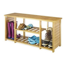 Whitmor - Bamboo Shoe Bench - Bamboo Wood Mud Room Shoe / Boot Bench