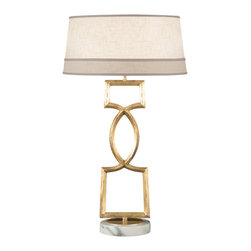 Fine Art Lamps - Allegretto Gold Table Lamp, 785010-2ST - Sensuous yet sophisticated angles and curves make this table lamp such an exciting addition to your favorite setting. Choose the burnished gold-leaf finish or, for a cooler effect, go with platinized silver.