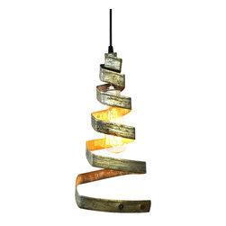 """Wine Country Craftsman - Corba - """"Pyramidal"""" - Pendant Light Wine Barrel Ring - Corba - """"Pyramidal"""" - Pendant Light Wine Barrel Ring - 100% Recycled"""