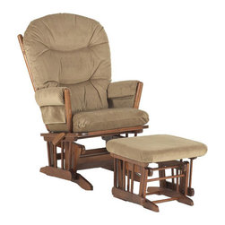 Dutailier - Dutailier Ultramotion Wood Glider and Ottoman - This finely constructed glider and ottoman features a smooth glide system designed by Dutalilier,as well as the eloquent appeal of natural hardwood. Feel the motion in this chair with the ability to stop and freeze the glide at any position you desire.