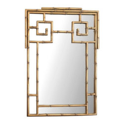 Pre-owned 1970s Gold Bamboo Chinoiserie Wall Mirror - A fantastic vintage gilded bamboo Chinoiserie wall mirror. The combination of gold and bamboo is so classically elegant, Asian-inspired, and the perfect Hollywood Regency accent. This mirror would look great in any space.