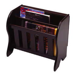 Winsome - Magazine Rack with side Flip Top - This charming magazine rack has two slots to hold several magazines, newspapers, and your current novel, while also providing a flat surface on which to rest a drink or a plate.