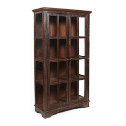 Kosas Collections - Bea Wooden Curio Cabinet - Show off your collections in this traditional curio cabinet. Constructed of a combination of reclaimed wood, this rustic-style cabinet features two glass doors and panel sides. Ample space is provided in the curio cabinet for displaying your treasures.