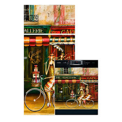 Appliance Art - Appliance Art 'Girlfriends in Paris' Combo Appliance Cover - This appliance cover depicts carefree women leisurely riding around Paris,taking in the sights of colorful cafes and the smells of fresh baked baguettes. Bring this colorful carefree attitude to your kitchen with this Appliance Art.