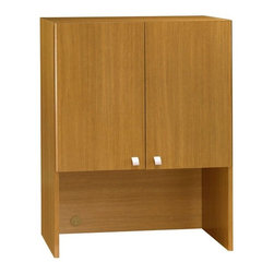 Bush Business - Modern Cherry Stained Office Storage Hutch w - This modern cherry finished storage hutch gives your office space additional storage without sacrificing space.  Stylish, silver knobs on the front of each door, open up to concealed storage offering an adjustable shelf.  Easy wire management with back panel grommets. * Mounts on 30 in. Storage File. Ships fully assembled. Grommet in back panel helps manage wires. Concealed storage with one adjustable shelf. 28.858 in. W x 13.976 in. D x 37.008 in. H