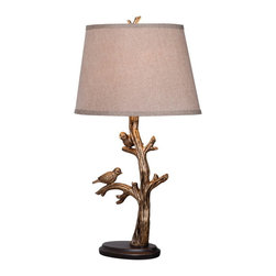 "Kenroy Home - Kenroy 32295BRZD Tweeter Table Lamp - You'll need more than 120 characters to talk about the Tweeter Table Lamp! The 26"" lamp, with Bronzed Finish, features a pair of gentle birds perched on the branches, ready to flutter away at any moment.  An ideal piece for accent tables, buffets, or bedroom lighting."
