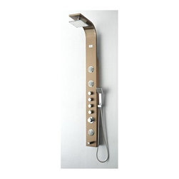 Fresca - 6.37 in. Geona Thermostatic Shower Massage Panel - 3 Two-Way Massage Jets. Brass Top Shower Head. Brass Handheld Shower and Tub Spout. Double Interlocked Durable Hose . Product Material: Stainless Steel, Brass. Finish: Stainless Steel (Brushed Bronze). cUPC Certified Thermostatic Valve. 63 in. H x 6 in. W x 16.25 in. DA shower panel can really take your morning cleaning routine to the next level. Instead of just a basic shower head you get four different water outputs: a large shower head that creates a rainfall effect, a handheld showerhead for mobility and hard to reach places, 3 swiveling massage water jets and a tub filling water spout on the bottom. The panel has four knobs that control each function, and a master knob that controls water pressure and temperature. The fixtures are all made from brass with a chrome finish, and the unit is made from stainless steel.