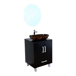 Bellaterra Home - 22 Inch Single Sink Vanity-Wood-Black - This modern bathroom vanity is an traditional design with a modern twist. Features include solid wood construction, amber multi color tempered glass vessel sink, and a black marble counter top. One drawer with full extension glide and two door panels accentuate with brush nickel finish feet. 22 W x 20.1 D x 36 H