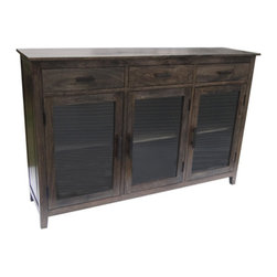 YOSEMITE HOME DECOR - 3 Door 3 Drawer Charcoal Green - This simple but stylish solid mango display cabinet features a charcoal/green finsh. The three glass panel doors and three solid mango shelves provide a large display and storage space. The three upper drawers provide additional storage space. The aged metal hardware adds a finishing touch to the cabinet. Assembled, made in India.