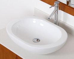 Elite 41562659C High-temperature Grade-A Oval Ceramic Bathroom Sink and Chrome F -