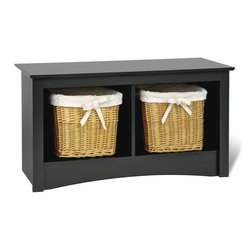 Prepac - Entryway Storage Bench w 2 Cubbies in Black - Finding furnishings for your home away from home means selecting pieces that include storage and style.  These storage benches will let you stash your stuff in a hurry in the roomy open cubbies with middle dividers.  Black finish makes it a favorite!  This Sonoma Collection black bench fits perfectly at the end of any twin bed but can also be placed in the front entryway as a solution for storage problems.  The black finish adds a sleek look to this open storage bed bench. * Two compartments. Warranty: Five years. Made from CARB-compliant, MDF, laminated composite wood. Made in North America . Assembly required. Internal: 15.25 in. W x 14 in. D x 12.5 in. H. Overall: 36.25 in. W x 15.75 in. D x 20 in. HOur Twin Cubbie Bench is a versatile storage solution for your small spaces. Underneath the bench, this piece will keep blankets, pillows, baskets and more neatly stowed away. Its compact size makes it the perfect space-saver for hallways or small bedrooms and its simple style will complement any decor. This bench offers functionality for any space.