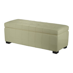 Safavieh - Large Manhattan Storage Bench - Off White - A modern adaptation of the old-fashioned steamer trunk, the beautifully upholstered Large Manhattan storage bench is perfect for dressing, lounging and stowing everything from blankets to sweaters. With off-white quilted bicast leather and button tufts on its hinged top, Manhattan stands on chic black beech wood legs ��_ a great looking organization tool.