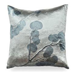 Aviva Stanoff - Aviva Stanoff Indigo Eucalyptus On Cinder Pillow - Shimmering indigo patterns of Eucalyptus creep elegantly across the entirety of this stunning accent pillow.