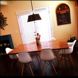 "6ft Steel Hair Pin Leg, Solid Wood Dining Table - 6' x 37"" x 30"" Contemporary table in Early American stain."