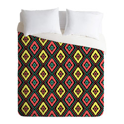 DENY Designs - Jacqueline Maldonado Zig Zag Ikat 1 Duvet Cover - Turn your basic, boring down comforter into the super stylish focal point of your bedroom. Our Luxe Duvet is made from a heavy-weight luxurious woven polyester with a 50% cotton/50% polyester cream bottom. It also includes a hidden zipper with interior corner ties to secure your comforter. it's comfy, fade-resistant, and custom printed for each and every customer.