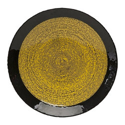 iMax - Raman Glass Charger - With striking coloration and a bold fingerprint inspired pattern, the Raman glass charger has a versatile style great for a variety of interiors.