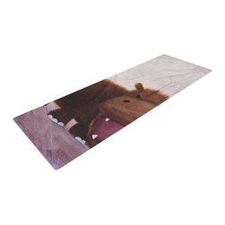 "KESS InHouse - Rachel Kokko ""The Happy Hippo"" Yoga Mat - Release your inner yogi in style with these artistically unique yoga exercise mats. These mats allow you to stretch and pose freely and comfortably as they are 72"" x 24""! Made of a durable, textured non-slip backing foam, these 1/4"" thick mats will cushion your body to allow you to child's pose and more during your workout routine. Carry your lightweight mat in a polyester blend bag with an adjustable shoulder strap for easy travel and clean up. These yoga exercise mats can be cleaned with a swipe of a towel and mild soap."