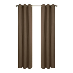 Commonwealth Home Fashions - Thermalogic? Chocolate 160 x 84-Inch Weathermate Grommet Top Two Panel Pair - - A solid color insulated Cotton duck fabric  - Twelve Antique Brass metal grommets per panel  - 1-inch side hems and 3-inch bottom hem  - Pocket Construction: Grommet top  - Additional Necessary Hardware: Decorative Rod  - Laundry Instruction: Washable  - Lining Fabric: 100% Acrylic Suede Commonwealth Home Fashions - 70370188160084503
