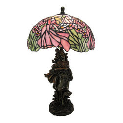 Stained Glass Art Nouveau Girl Figural Table Lamp - This beautiful leaded stained glass table lamp adds the perfect accent to your desk or nightstand. Measuring 20 inches tall, 11 inches wide and 11 inches deep, the lamp features a cold cast resin Art Nouveau style base, featuring a girl in a field wearing a sash of flowers. The base holds up a gorgeous shade made out of hundreds of pieces of stained glass that form together to create a scene of hummingbirds and flowers. The lamp is brand new, never used or displayed. It uses appliance style 40 watt bulbs (not included). It makes a great gift.
