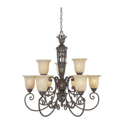 Designers Fountain - Designers Fountain 97589 Nine Light Up Lighting Two Tier Chandelier from the Amh - Features: