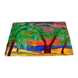 "xmarc - Beach Area Rugs, Mountain Sunset Palms, 96""W X 48""Tall - Mountain sunset palms beach plush area rug from my art."