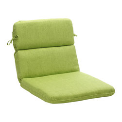 Pillow Perfect - Outdoor Green Textured Solid Rounded Chair Cushion - Add style and comfort to your porch or patio furniture with this outdoor rounded chair cushion. Made from 100 percent polyester,this cushion is weather and UV resistant. It also features a sewn seam with 100 percent polyester fiber fill.