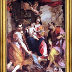"""Federico Fiori Barocci-16""""x24"""" Framed Canvas - 16"""" x 24"""" Federico Fiori Barocci Virgin and Child with Sts Simon and Jude (Madonna di San Simone) framed premium canvas print reproduced to meet museum quality standards. Our museum quality canvas prints are produced using high-precision print technology for a more accurate reproduction printed on high quality canvas with fade-resistant, archival inks. Our progressive business model allows us to offer works of art to you at the best wholesale pricing, significantly less than art gallery prices, affordable to all. This artwork is hand stretched onto wooden stretcher bars, then mounted into our 3"""" wide gold finish frame with black panel by one of our expert framers. Our framed canvas print comes with hardware, ready to hang on your wall.  We present a comprehensive collection of exceptional canvas art reproductions by Federico Fiori Barocci."""
