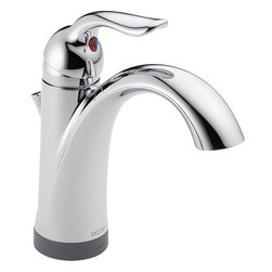 "Delta - Delta 15938T-DST Lahara 1-Handle Lavatory Faucet w/ Touch2O Technology (Chrome) - This single-handle lavatory faucet features a 1- or 3-hole mount, a 5-1/2"" long spout, and a lever handle for precise volume and temperature control. This faucet comes with 3/8"" O.D. staggered PEX supply tubes, a 1.5 GPM flow rate, and Delta's exclusive Touch2O Technology that allows you to turn the faucet on and off with a touch on the handle or spout. This model comes with a polypropylene pop-up assembly and 6 AA batteries for the Touch2O function. This faucet comes in a bright, Chrome finish."