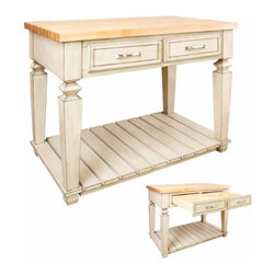 Jeffrey Alexander - Jeffrey Alexander Bungalow White Kitchen Island 45-15/16 x 28-1/16 Inch - Jeffrey Alexander 45 15/16 Inch x 28 1/6 Inch x 34 1/4 Inch table style island with open shelf is manufactured using the highest quality furniture grade hardwoods and MDF. The island features two deep working drawers on one side and a false front on the reverse. Drawers are dovetail solid hardwood and are mounted on undermount full extension soft close slides. Decorative hardware is included with Jeffrey Alexander item. Coordinating post P34 is available in our carved wood collection. French White finish is applied by hand. 1 3/4 Inch hard maple edge grain butcher block top sold separately (ISL03 TOP  48 Inch x 30 Inch) Overall Dimensions: 45 15/16 Inch x 28 1/16 Inch x 34 1/4 Inch Dimensions taken from the widest point Finished in French White (finish applied by hand)  All Materials used meet California CARB2 Requirements  Some assembly required