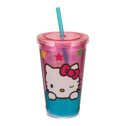 Hello Kitty - Hello Kitty Stars 18-Oz. Tumbler - Take lemonade and ice water on the go with this sweet tumbler. Featuring a Hello Kitty theme, it boasts a durable acrylic construction plus a straw and lid for spill-free sipping.   Holds 18 oz. Acrylic Hand wash Imported