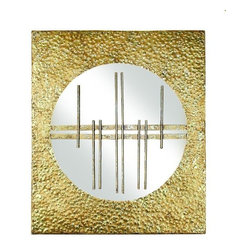 """Gold Asian Panel with Round Mirror - Italian Gold Asian Iron Wall Panel with Round Mirror Hand crafted by master craftsmen from iron & mirror. Hand-finished in a multi-step process 12"""" wide/.75"""" deep/14"""" tall Weight: 3 pounds Hooks on the back for hanging"""