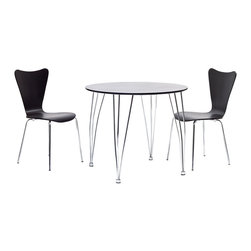 LexMod - Surge Dining Table in Black, Arne Jacobsen-Style Series 7 Side Chair Set - Enact a burst of enthusiasm as creative energy courses up from the deeper essences. Surge reminds us of the ability to achieve goals while balancing this impetuosity with stability. The sleek round black top and bowed steel legs show the cumulative strategies needed to increase one's capacity for understanding. Minimalist in nature though it may be, this seat doesn't skimp on comfort. Its seemingly rigid design, flexes to the contours of the human body, making it a great side chair for homes and businesses alike.