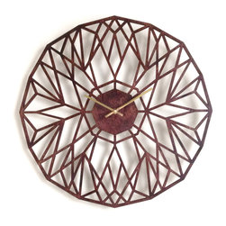 Sarah Mimo - Quartz Clock - Every Sarah Mimo product is lovingly produced in New York City with beauty and functionality in mind. It is laser-cut from a strong, five-ply Baltic birch wood that's completed with a hand-stained, semi-gloss finish. It is fitted with a quality quartz movement that has a built-in hanger for easy display on your wall. One AA battery required - not included.