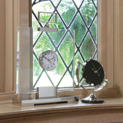 """Global Views - Global Views Block Clock - Contemporary and ultra chic, the Global Views Block clock tells time in sleek style. Square glass and nickel accents frame the round face with edgy modernity. 4""""W x 12""""D x 17.25""""H; Runs on AA batteries (not included)"""