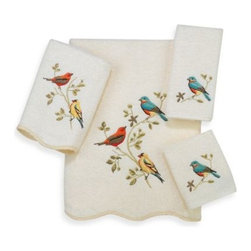 Avanti - Avanti Premier Songbirds Washcloth in Ivory - Avanti Premier Songbirds Ivory Towels feature beautifully embroidered colorful birds to provide a stylish bathroom decor. Towels are finished with a scalloped edge for a truly elegant look.