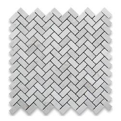 "Stone Center Corp - Crema Marfil Marble Herringbone Mosaic Tile 5/8 x 1 1/4 Polished - Crema Marfil Marble 5/8x1 1/4"" pieces mounted on 12x12"" sturdy mesh tile sheet"