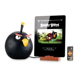 Fesco Distributors Inc. - Angry Birds iPodiPhone & iPad Speaker Dock in Black - This Angry Birds speaker dock works with iPods, iPhones, iPads and all MP3 players. It features 30 watt, 2.1 stereo speakers with bass control and a powerful sub-woofer for even bigger bass control.