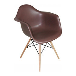 2 Eiffel Wood Arm Chair, Chocolate - Bring a relaxed sense of style to your favorite living spaces with these eiffel armchairs. The retro simplicity of these classic white eiffel base accent chairs will instantly enhance the modernity of your room. Each of these contemporary chairs is made from durable molded plastic with an ergonomically-shaped and curved seat. The legs are wooden and include eiffel shape steel hardware in black as well as black plastic tips to protect sensitive flooring.