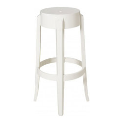 Kartell - Charles Ghost Stool, Set of 2, 26 Inch, Matte Glossy White - Add a dash of lighthearted sophistication to your bar, game room or kitchen with this distinctive stool. Its shape and gently flared legs evoke classic 19th-century design, but its glossy, batch-dyed polycarbonate fabrication makes it the cool stool for modern-day life. Lightweight and highly durable, it's also a great option for outdoor use.