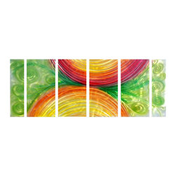 Pure Art - Color Slices Metal Wall Art Set of 6 - Slices of splendid colors create half moon shapes that are surrounded by beautiful green vines. This six panel metal wall hanging group is the perfect way to bring modern and contemporary looks to your home. Add this lovely group to your home with confidence. Grouping has been crafted and hand painted by skilled craftsmen using only the best of materials and suppliesMade with top grade aluminum material and handcrafted with the use of special colors, it is a very appealing piece that sticks out with its genuine glow. Easy to hang and clean.